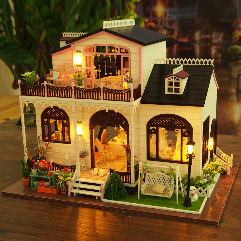 Bowness Villa Furniture Dollhouse Miniature House Model DIY Kit With LED Lights Wood Toy Dolls House Handmade Birthday Gift