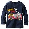 Novo 2017 Da Marca de 100% de Algodão Do Bebê Meninos camisetas Crianças Roupas Roupas Crianças camisetas de Manga Longa Meninos Blusa Meninos bombeiro