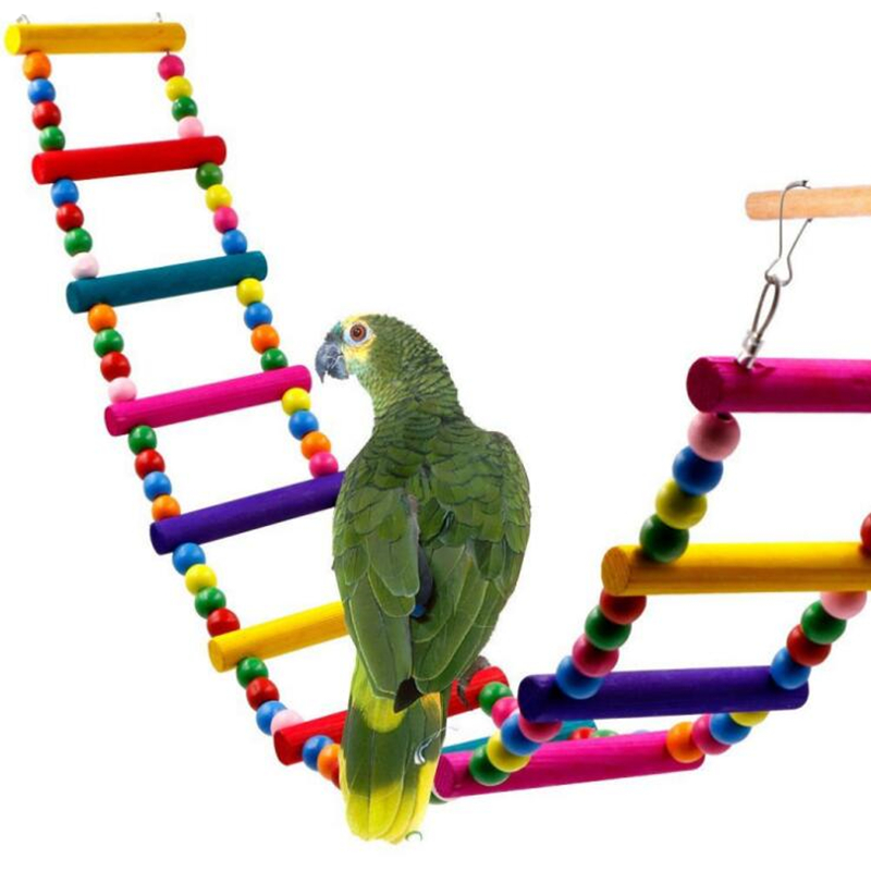 Quality 1pc Pet Birds Two Patterns Wooden Hanging Rope Decor Parrot Chewing Swing Climbing Ladder Toys Drop Shipping Excellent In