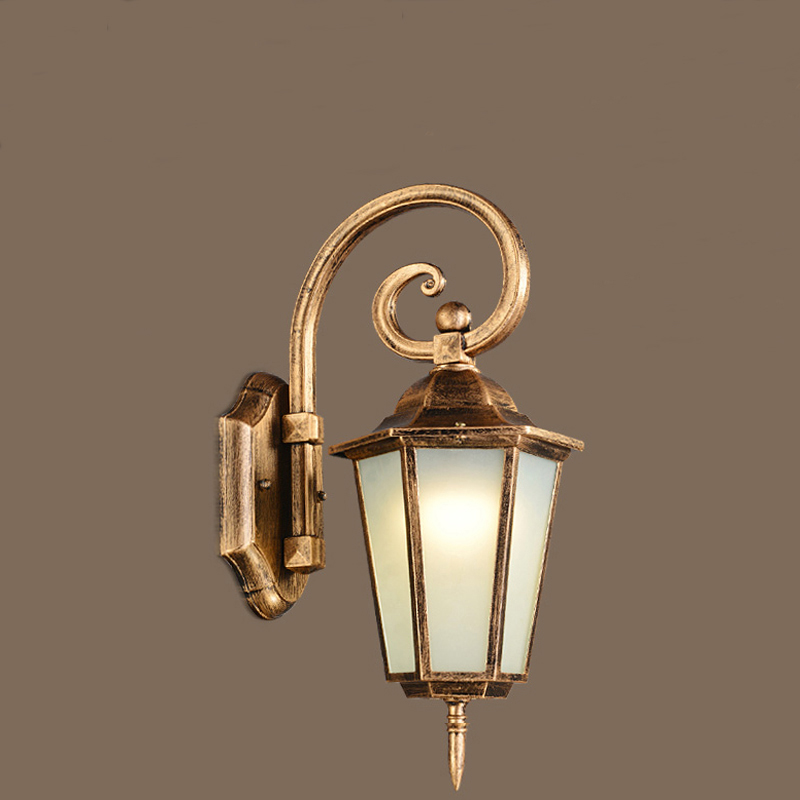New European Retro Wall lamp Outdoor Wall Sconce Simple Waterproof Garden Wall Light Glass Porch ...