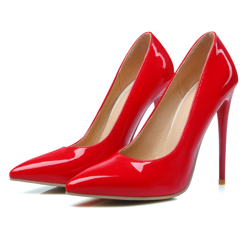 ФОТО Chinese OL simple style sexy pointed toe pumps fashion show slip extreme high heel 12cm stiletto women shoes big size 22~28.5cm