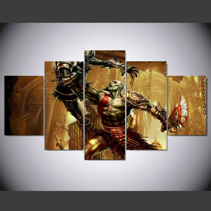 5 panel Modern god of war 3 kratos hd Art print canvas art wall framed paintings for living room wall picture ny-117