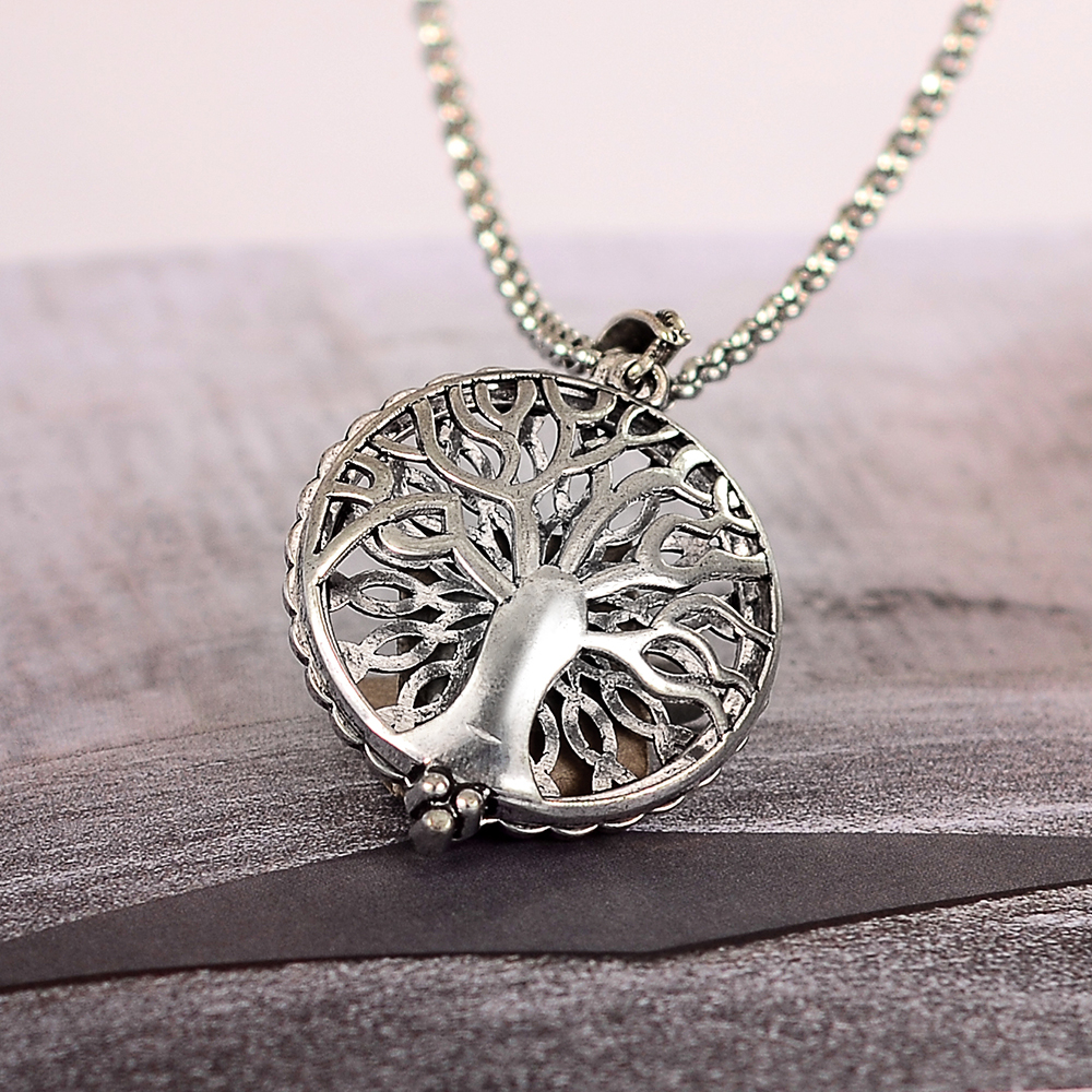 Trendy Silver Tree Essential Oil Diffuser Necklace Open Charms Fashion Chain Pen