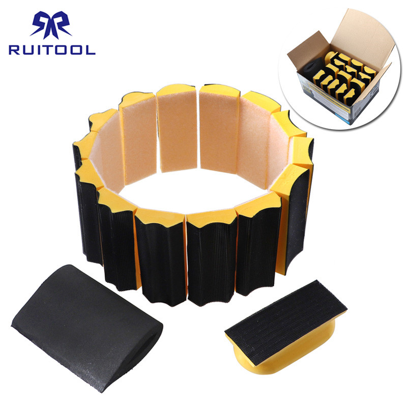 16pcs/set Sanding Pad 40*100mm Shaped Hand Sanding Block Sanding Disc Grinding Sponge For Hook & Loop Sandpaper Abrasive Tools