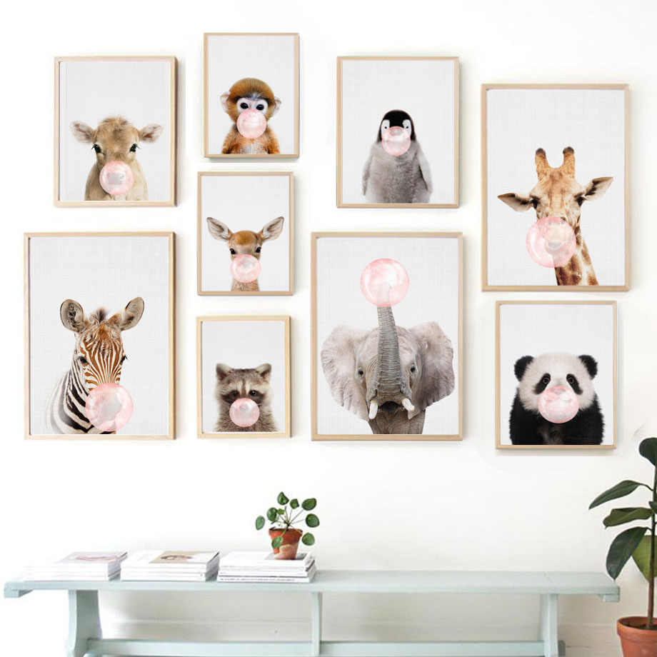 Wall Art Canvas Painting Panda Deer Elephant Penguin Balloon Nordic Posters And Prints Animal Wall Pictures Baby Kids Room Decor