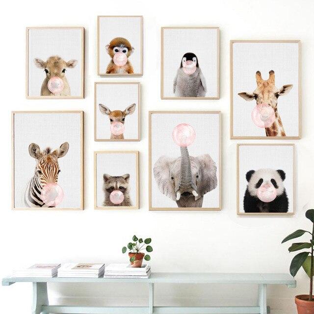 Стены книги по искусству холст картины панда олень слон Пингвин воздушный шар плакаты на скандинавскую тему и принты животных настенные панно для маленьких детск