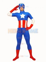 Marvel The Avengers Spandex Captain America Superhero Costume Halloween Cosplay Adult Costumes Show Zentai Suit Free
