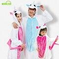 Flanela unicórnio Meninas menino Pijama para a família Traje Cosplay Animal Onesies Para Mulheres Dos Homens Adultos Criança animais pijamas uma peça
