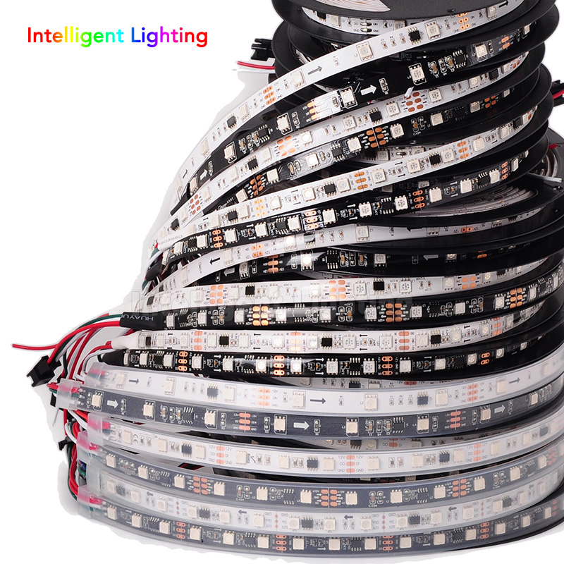 5m WS2811 12V led strip, Black/White PCB 30/48/60 leds/m,10/16/20 pixel, every 3leds addressable, waterproof IP30/IP65/IP67