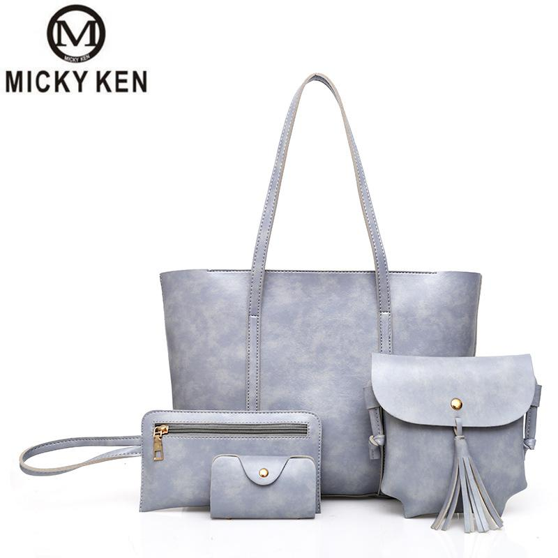 23711a915 ميكي كين العلامات التجارية 2018 جديد أزياء شرابة عائلة من أربعة  الصورة-المحمولة حقيبة كتف