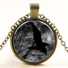 Newest Crow Necklace Bird pendant Black Bird Jewelry Animal Pendant Raven Necklace Bird Lover Gift Victorian Jewelry Animal(China)