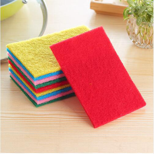 Bon 10 Pcs/Set HOt Color Highly Efficient Scouring Pad Dish Cloth Cleaning  Wipers Kitchen Rags
