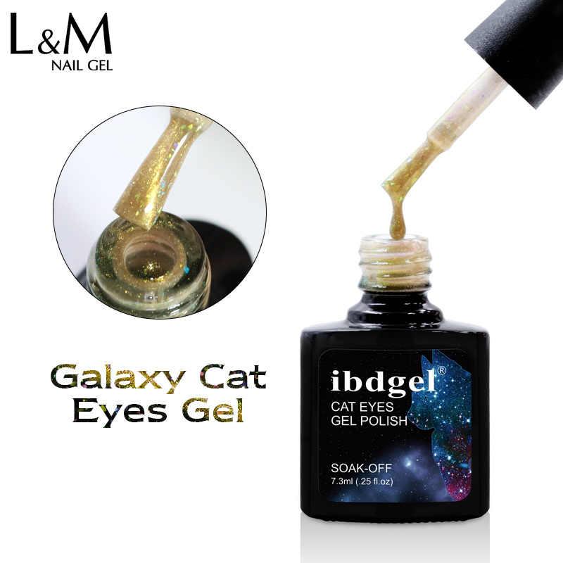 Ibdgel 6 Pcs Pretty Hologram Magnetic Cat Eye Rendam Off Gel Memoles Dasar Hitam Yang Dibutuhkan 6 Warna 7.3 ML