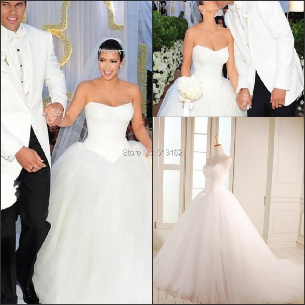 Kim K Wedding Gown: Fashion Hot Sale Kim Kardashian Celebrity Bridal Gowns