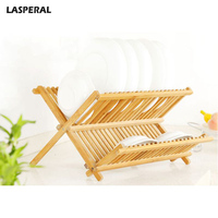 LASPERAL Kitchen Dish Wooden Storage Holders Home Wooden Dryer Folding Lek Leaf Bamboo Storage Rack Cutlery
