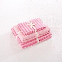 De punto de algodón 4 unidades cama sets raya rosada niñas juegos de cama de tamaño completo 1.8 m cama doble cubierta envío gratis