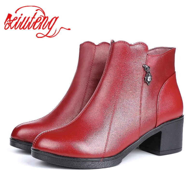 Xiuteng kış Kadın hakiki deri çizmeler kalın yüksek topuklu moda zip yarım çizmeler elbise ayakkabı iş çizmeleri kadın