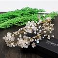 Hecho a mano de la Hoja de Oro de La Boda Celada Accesorios Para el Cabello Diadema Nupcial Floral Vintage Mujer Vinchas Tiara