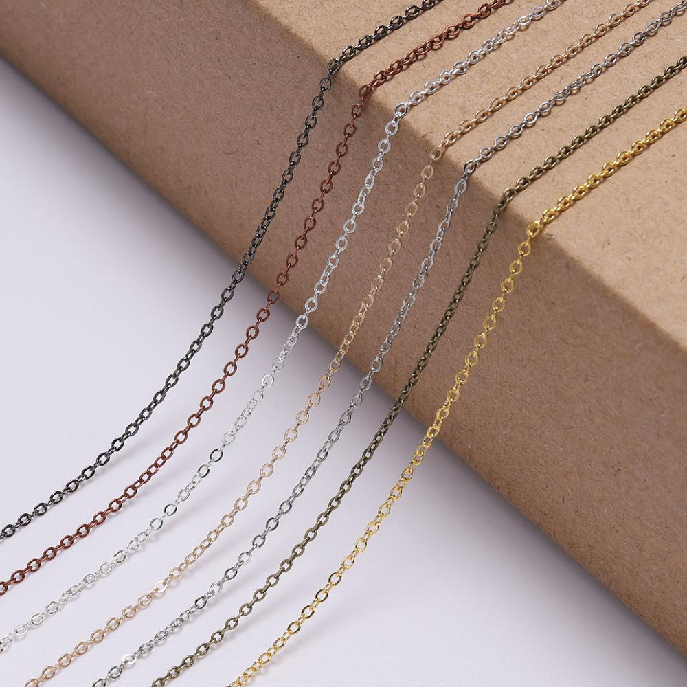 5M/lot 1.5 2.0 2.5 mm Gold Bronze Oval Link Necklace Chain Bulk Brass For Jewelry Making DIY Materials Findings Supplies
