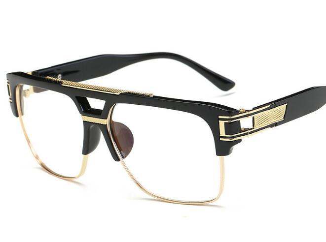 R20 Luxury eye glasses frames for men 2016 top quality gold metal flat top big man glasses optical frames brand gafas