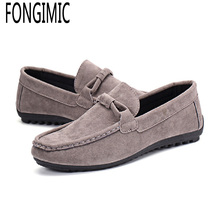 New sale men's spring summer wear slip-on casual shoes solid color comfortable breathable Classical men's soft flock lazy shoes
