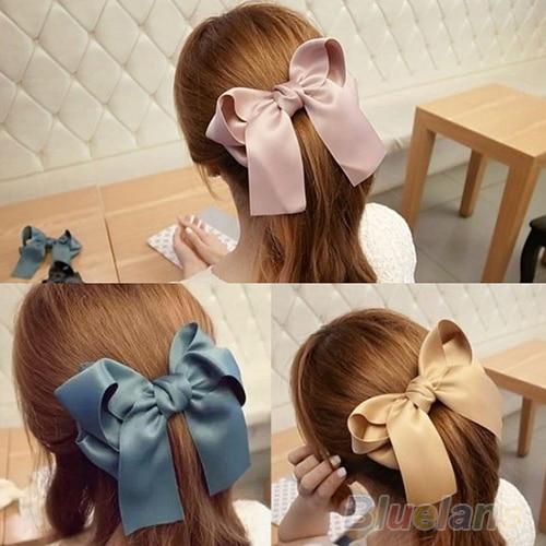 Korean Women Multicolor Satin Ribbon Bow Hair Clips Barrette Ponytail Holder Hot Sale 000Z 018Z