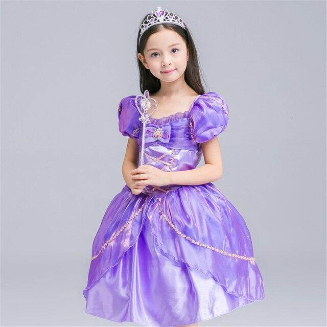 29a4c03b09562 الفتيات فساتين صوفيا الأميرة اللباس الأطفال تأثيري زي ملابس عيد الطفل فتاة  الأرجواني اللباس للأطفال الملابس