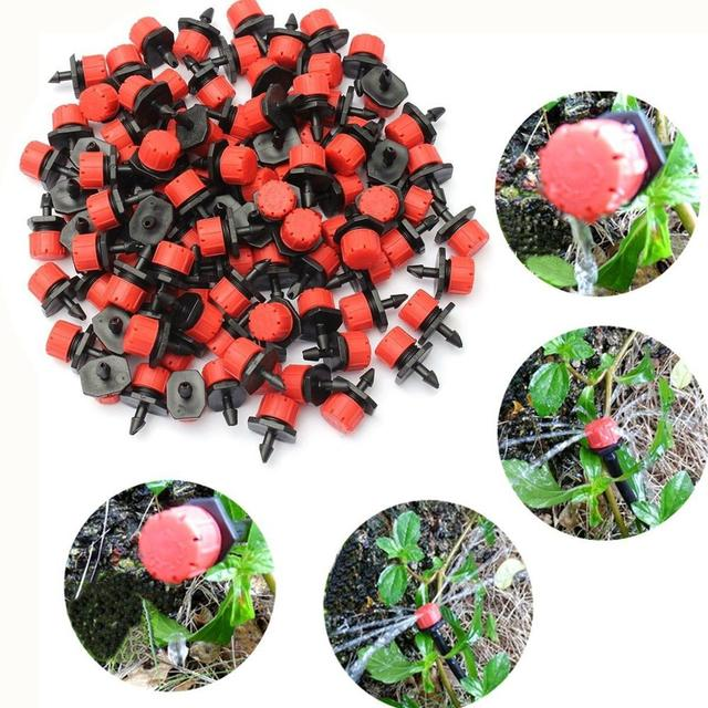 Set de rociadores de jardín con cabezal de microflujo cabezal de irrigación ajustable, gotero de agua, 100 unidades