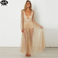 HongMiao 2018 New Fashion Women Summer Evening Party Dress Sexy Deep V Sparkling Sequin Long Dresses