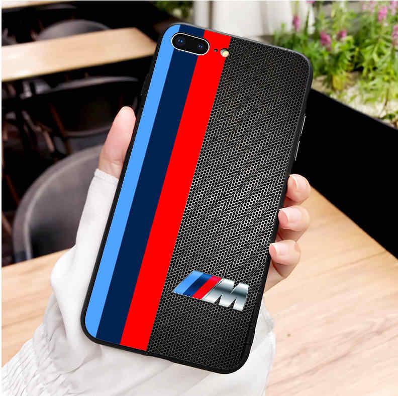 Balap Mewah Merek BMW Hitam Silikon Lembut Tpu Ponsel Cover untuk iPhone SE Max XS XR X 5 5 S 6 6 S 6 Plus 7 8 7 Plus 8 PLUS