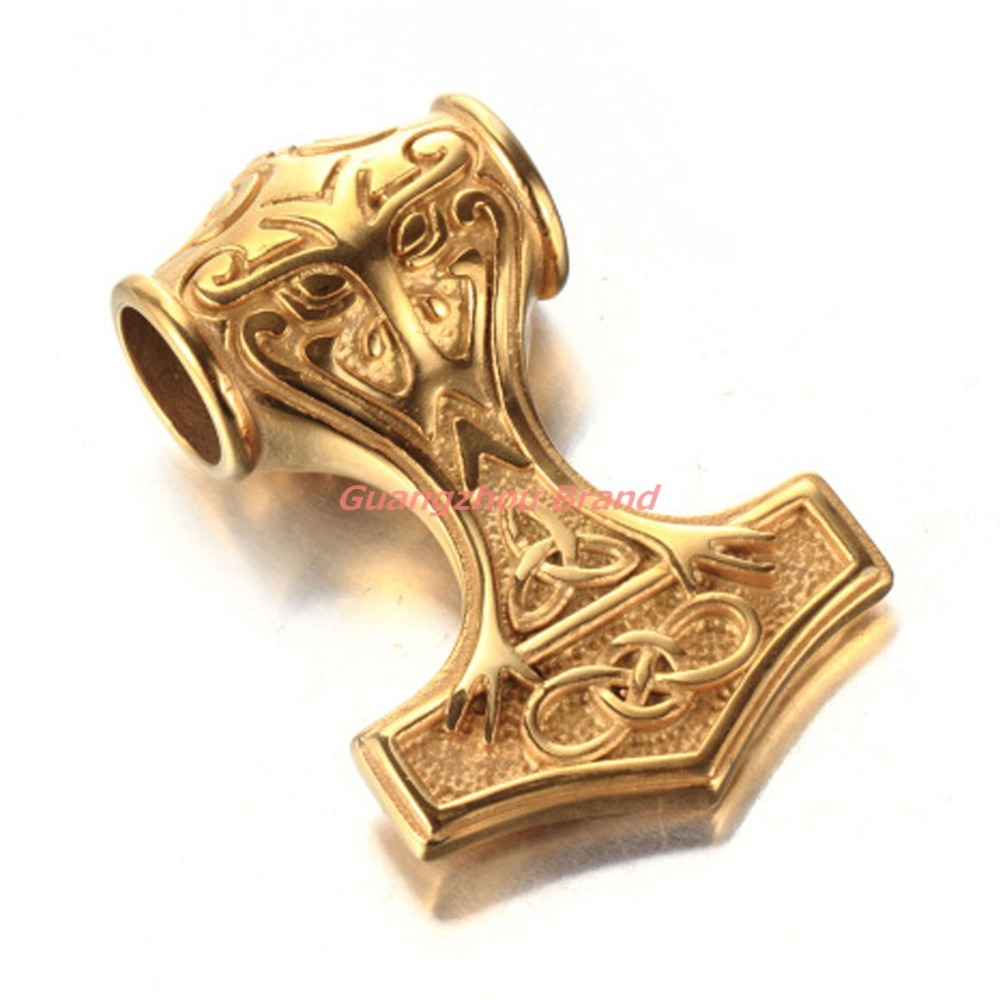 35mmYellow Gold Tone Cool Stainless Steel Mens Boys Pendant Necklace Jewellery Knot Myth Mjolnir Thors Hammer Wholesale