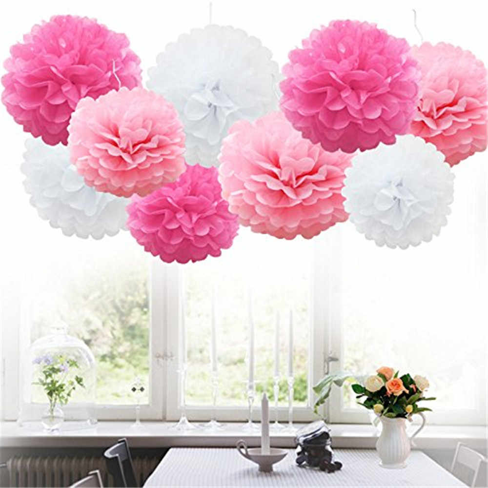 9pcs Tissue Paper Pompoms Flower Balls Fluffy Christmas Wedding Party Decoration Xmas Home Garden Tool Supplies