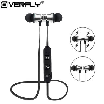 Overfly Magnetic Headphones Bluetooth 4.1 Running Headset Wireless Sports Bluetooth Earphone Bass Stereo with Mic for Samsung