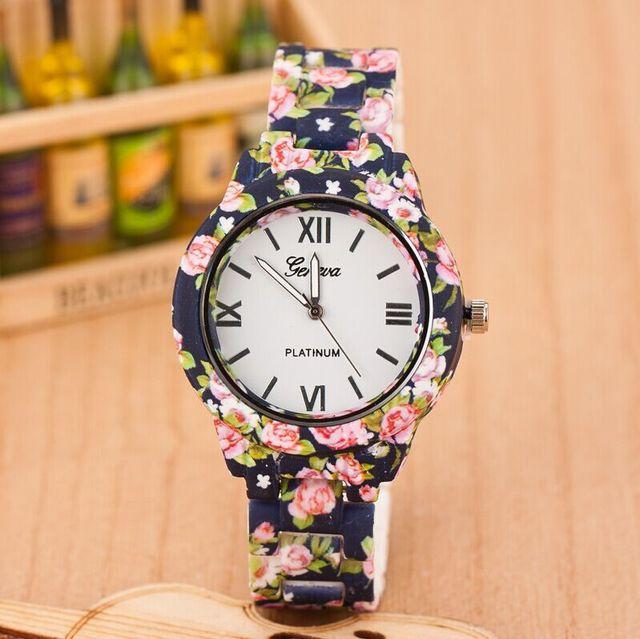 23594185e10 2017 Floral Mulheres Relógio de Genebra Flor Pulseira Relógio de Pulso  Feminino relógio de Quartzo relogio