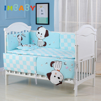 IMBABY Baby Bedding Set 5pcs Crib Sides Bedding For Children Bed Linen Baby Bed Cotton Soft Baby Bumper Pillowcase Infant Sheet