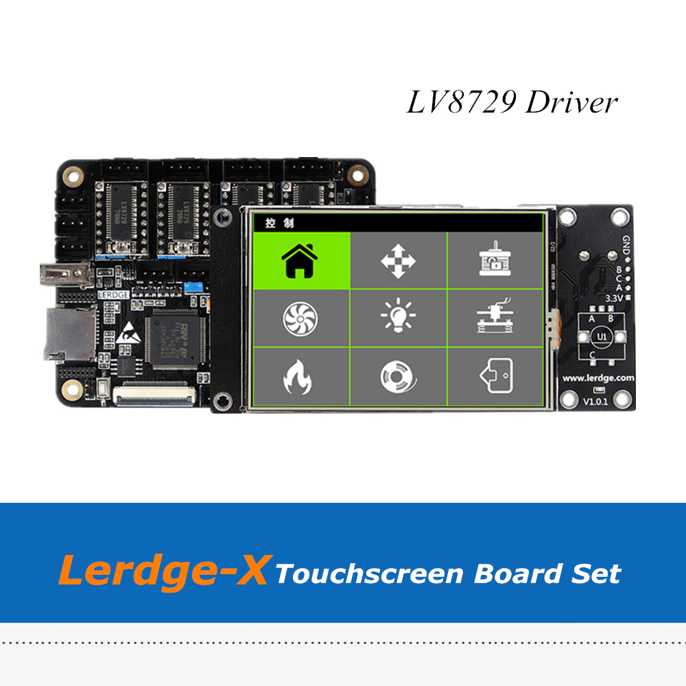 3D Printer Board Lerdge-X ARM 32Bit Controller Mainboard + 3.5inch Touchscreen With 4pcs LV8729 Drivers цена