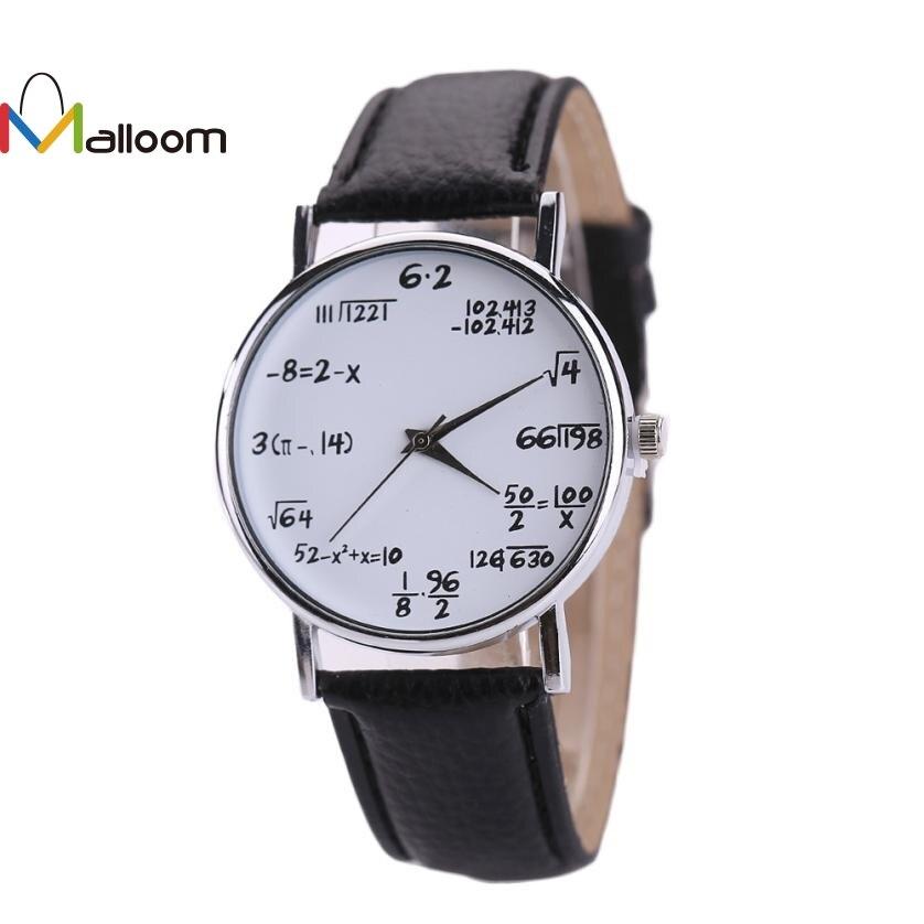 06723b046d9 Fashion Design Women Watches Mathematical formula Pattern PU Leather Band  Analog Alloy Quartz Wrist Watch Relogio