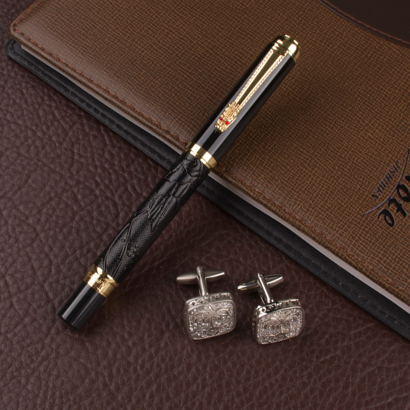 Dragon pen Gold clip 0.7mm NIB black Refill Office Business pen Black leather novelty Roller Ball Pen cufflinks for mens gift dikawen 891 gray gold dragon clip 0 7mm nib office stationery metal roller ball pen pencil box cufflinks for mens luxury