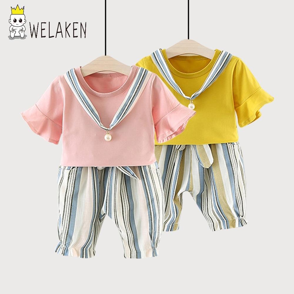 Welaken tan lindos conjuntos de ropa para niñas establece verano fresco 2 unids