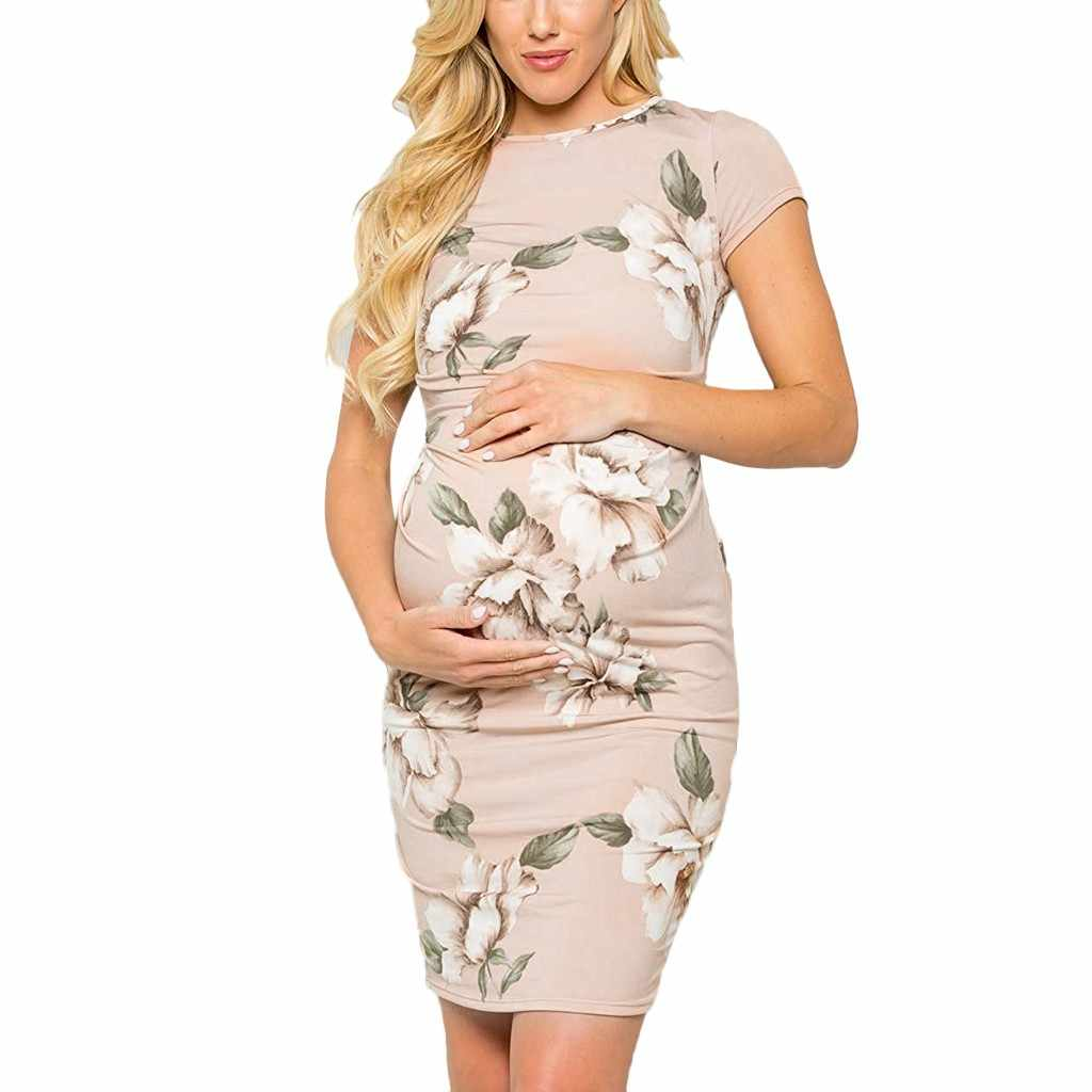 ARLONEET Women's Maternity Short Sleeve O-neck Floral Print Dress Pregnancy Clothes For Pregnant Women Dresses Vestidos 19MayP30