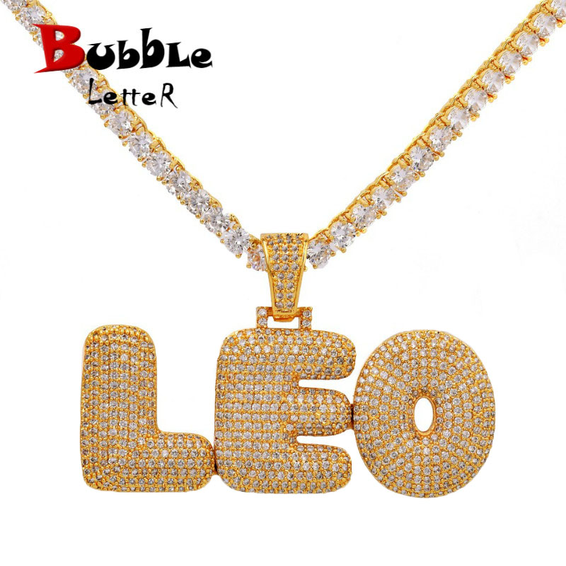 Custom Name Bubble Letters Chain Pendants Necklaces Men S Zircon Hip Hop Jewelry With 4mm Gold Tennis Chain Customized Necklaces Aliexpress