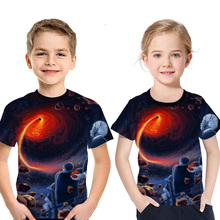 цена Cosmic Black Hole 3D Print T-shirt Children Summer Einstein Digital Formula Theory Digital Print Kids T Shirt Boy Girl Tee New онлайн в 2017 году