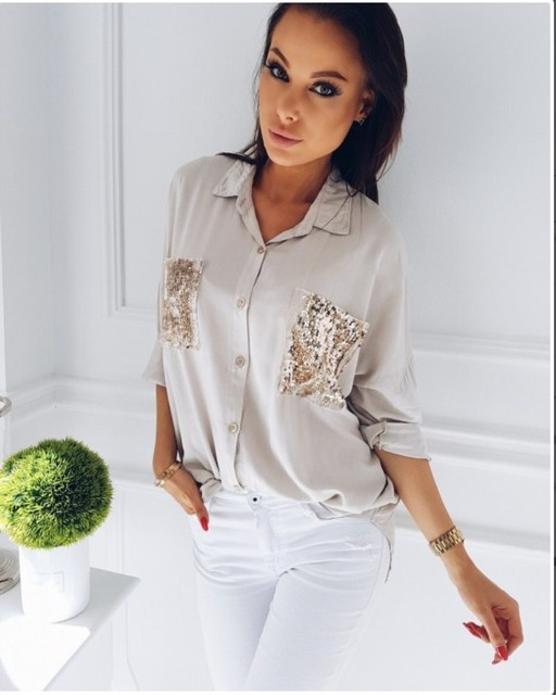 9f116227bde08 Fashion Women Ladies Long Sleeve Chiffon Sequined Pocket Blouse Shirt Tops  Button Bling OL Turn-down Neck Causal Loose Shirt New