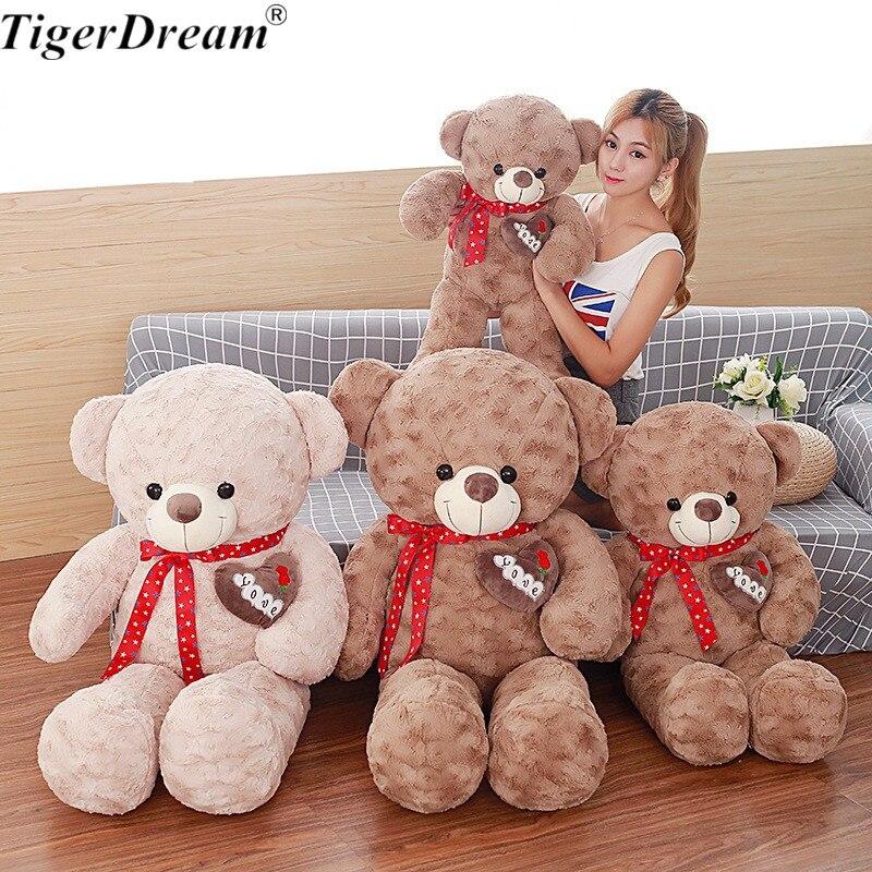 Doux PP coton farci ruban Huging amour ours jouet animaux ours poupées en peluche jouets pour petite amie saint valentin cadeaux 2 couleurs