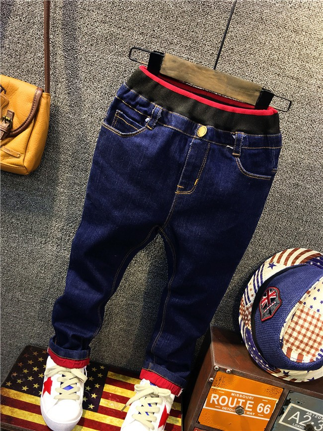 children boy autumn winter fleece warm jeans pants (6)