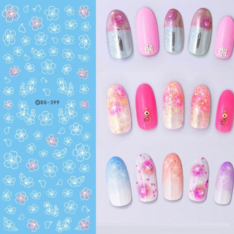 3 Pcslot Sweet Flower Pattern Diy Children Nail Art Water Transfer