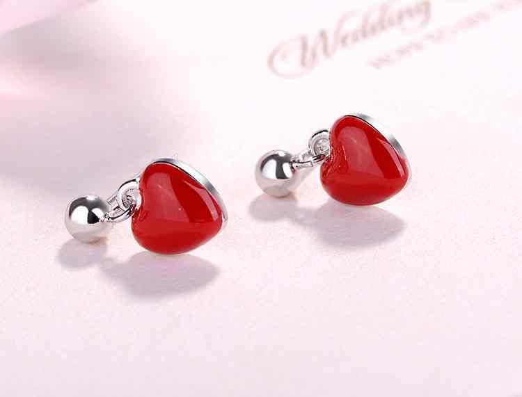 רומנטי אדום אהבת לב 925 כסף סטרלינג ליידי עגילים מקורי תכשיטי לנשים זרוק משלוח זול מתנה לא לדעוך