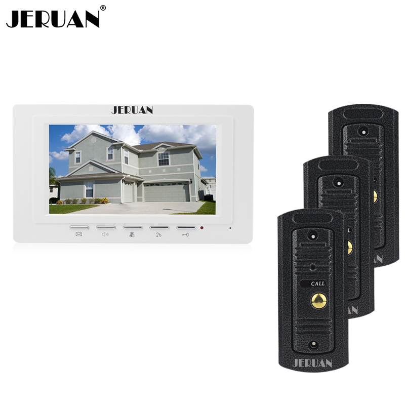 JERUAN Home wired 7 inch LCD screen video door phone intercom system 1 monitor 3 waterproof metal pinhole Cameras Free Shipping