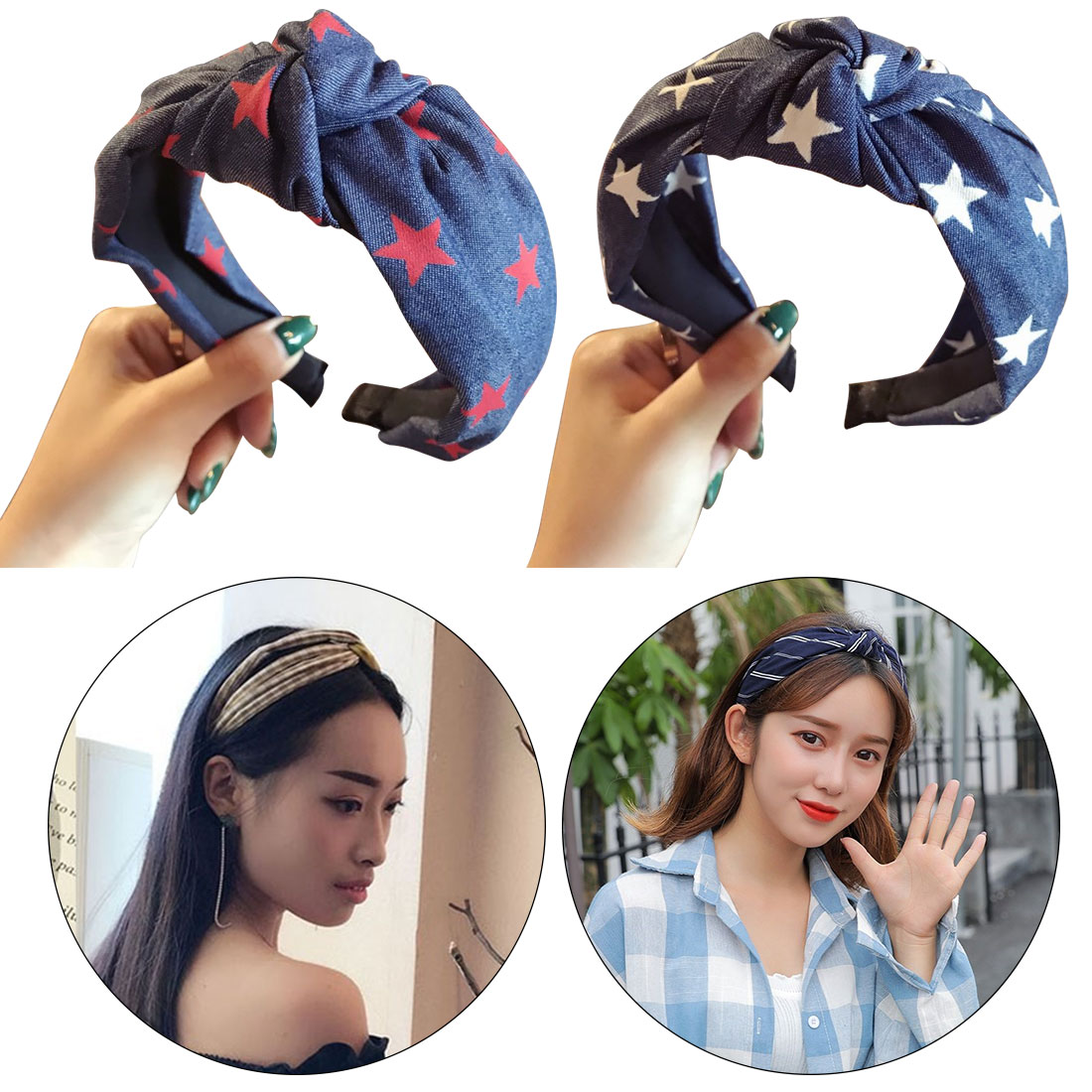 Fashion Women Pentagram Print Blue Denim Wide Knot Hairbands Quality Star Bow Headbands Plastic Headwraps