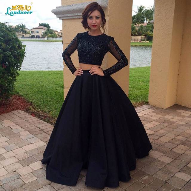 7caa0b4dc1a6 unique black masquerade dress two pieces long sleeves Sexy prom dresses  2017 satin beaded long formal